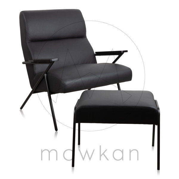 Mowkan lounge chair Nodin leather bazalt