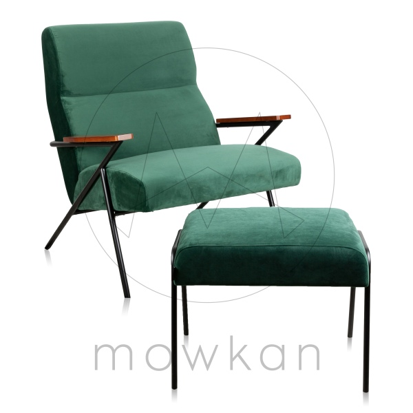 Mowkan lounge chair Nodin velvet emerald